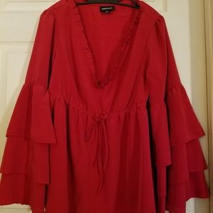 Red Ruffle bell sleeve v neck blouse